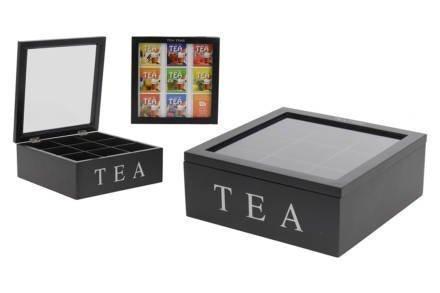 Ξύλινο Πρακτικό Κουτί αποθήκευσης για φακελάκια τσαγιού Tea box με 9 θέσεις και διάφανο καπάκι 22x22x9cm σε Μαύρο χρώμα - Cb