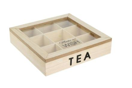 Ξύλινο Κουτί Αποθήκευσης για φακελάκια τσαγιού με 9 θέσεις