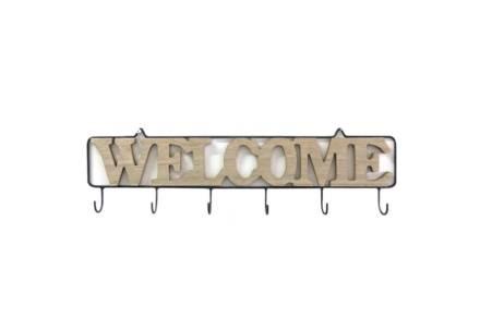 Επιτοίχια Ξύλινη Κρεμάστρα 6 θέσεων με σχέδιο Welcome
