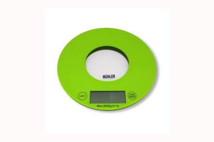 Muhler Ψηφιακή Γυάλινη Στρογγυλή Ζυγαριά Κουζίνας Ακριβείας 20cm έως 5Kg σε Πράσινο χρώμα