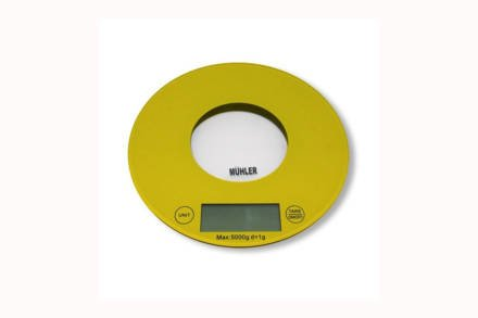 Muhler Ψηφιακή Γυάλινη Στρογγυλή Ζυγαριά Κουζίνας Ακριβείας 20cm έως 5Kg σε Κίτρινο χρώμα