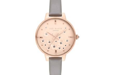 Ted Baker Γυναικείο Αναλογικό Ρολόι Χειρός με γκρι λουράκι και floral Rose Gold καντράν