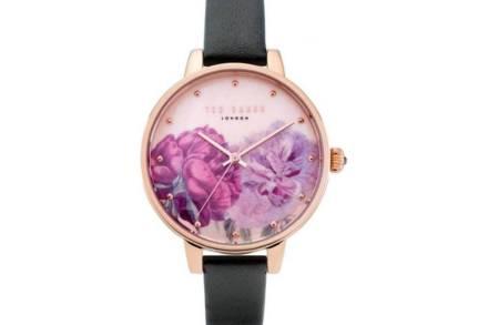 Ted Baker Γυναικείο Αναλογικό Ρολόι Χειρός με μαύρο λουράκι και Rose Gold καντράν με floral σχέδιο