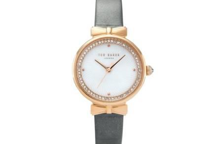 Ted Baker Γυναικείο Αναλογικό Ρολόι Χειρός με γκρι δερμάτινο λουράκι και λευκό καντράν