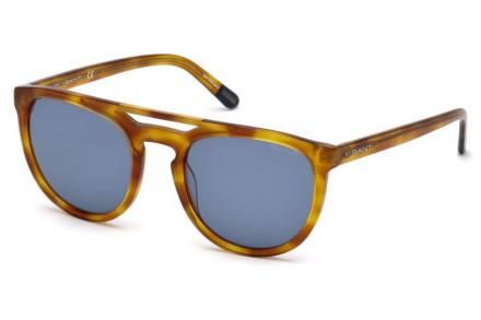 Gant Ανδρικά Γυαλιά Ηλίου με πλαστικό καφέ σκελετό και μπλε φακούς