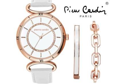 Pierre Cardin Σετ Κοσμημάτων με Γυναικείο Ρολόι Χειρός και βραχιόλια σε λευκό με Rose Gold χρώμα