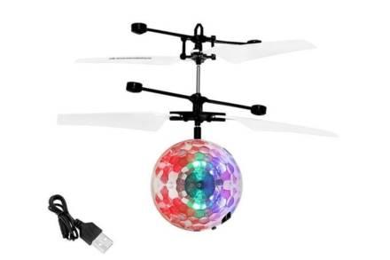 Επαναφορτιζόμενη Ιπτάμενη Μπάλα Ντίσκο Ελικοπτεράκι LED με 4 προπέλες