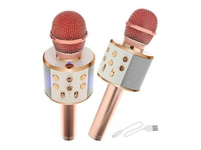Ασύρματο Μικρόφωνο Καραόκε με Bluetooth και μεγάφωνο σε ροζ χρώμα