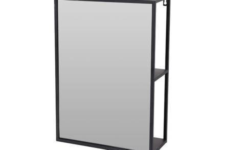 Επιτοίχιος Μεταλλικός Καθρέπτης Τοίχου με 2 ράφια σε μαύρο χρώμα