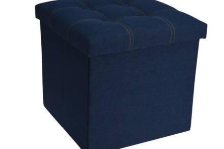 Πτυσσόμενο Υφασμάτινο Σκαμπό  με αποθηκευτικό χώρο σε  χρώμα Jean