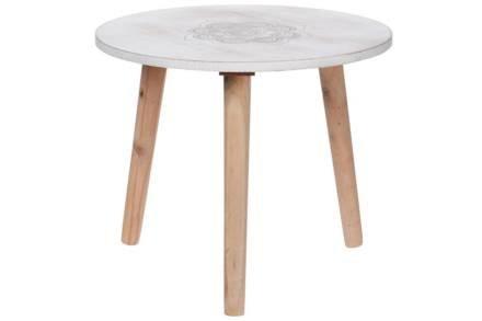 Στρογγυλό Τραπεζάκι Σαλονιού Side Table σε λευκό χρώμα με σκαλιστό σχέδιο