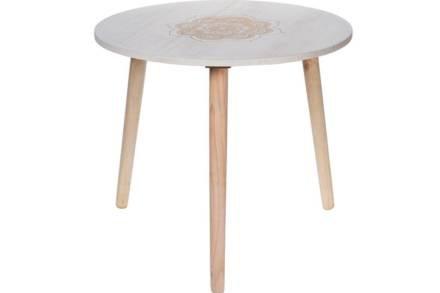 Στρογγυλό Τραπεζάκι Σαλονιού Side Table σε λευκό χρώμα με χρυσό σκαλιστό σχέδιο
