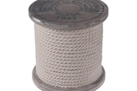 Ξύλινο Σκαμνί Σκαμπό με σχοινί περιμετρικά σε καφέ χρώμα