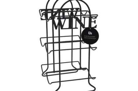 Μεταλλική Μπουκαλοθήκη Κάβα Κρασιών με 6 θέσεις και την επιγραφή WINE