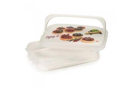 Δοχείο αποθήκευσης για Muffins και Cupcakes με λαβή σε λευκό χρώμα