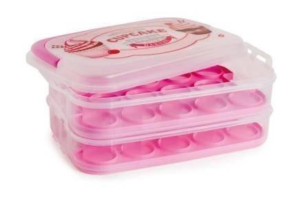 Δοχείο αποθήκευσης για Muffins και Cupcakes με λαβή σε ροζ χρώμα