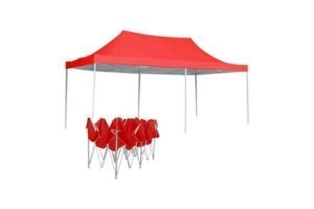 Gazebo Πτυσσόμενο Κιόσκι Τέντα Partytent με Μεταλλικό σκελετό σε Κόκκινο Χρώμα