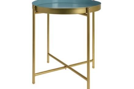 Μεταλλικό Τραπεζάκι Σαλονιού με χρυσά πόδια και αποσπώμενο μπλε δίσκο