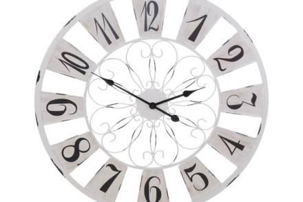 Αναλογικό Μεταλλικό Ρολόι Τοίχου Αντίκα σε λευκό χρώμα με διάμετρο 75 cm - Aria Trade