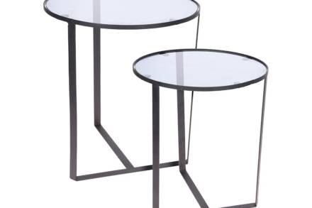 Σετ Μεταλλικό Τραπεζάκι Σαλονιού 2 τεμαχίων Side Tables με διάφανη επιφάνεια