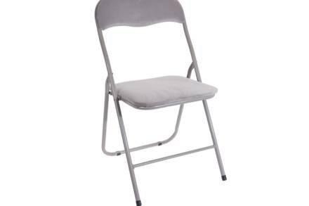 Πτυσσόμενη καρέκλα με βελούδινο κάθισμα και πλάτη