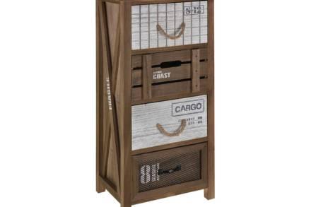 Ξύλινο Έπιπλο Συρταριέρα με 4 συρτάρια σε καφέ χρώμα