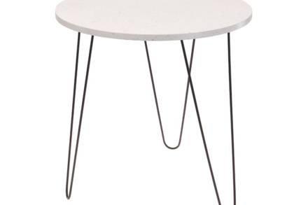 Μεταλλικό Τραπεζάκι Σαλονιού Side Table με ξύλινη επιφάνεια σε λευκό χρώμα