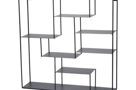 Μεταλλική Επιτοίχια Ραφιέρα με 6 ράφια σε τετράγωνο σχήμα και μαύρο χρώμα