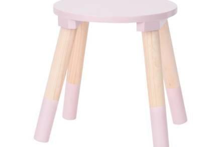 Παιδικό Ξύλινο Σκαμνί Σκαμπό με 4 ξύλινα πόδια σε ροζ χρώμα