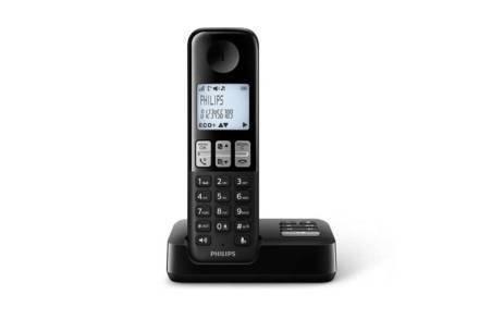Philips Ασύρματο Επαναφορτιζόμενο Τηλέφωνο με τηλεφωνητή σε μαύρο χρώμα