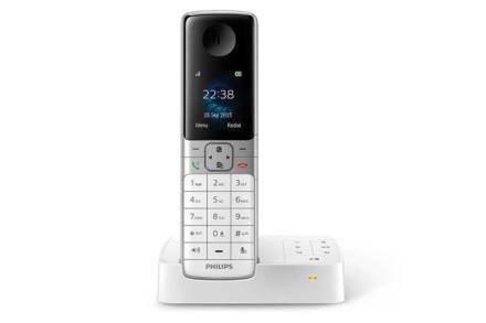 Philips Ασύρματο Επαναφορτιζόμενο Τηλέφωνο με τηλεφωνητή σε λευκό χρώμα