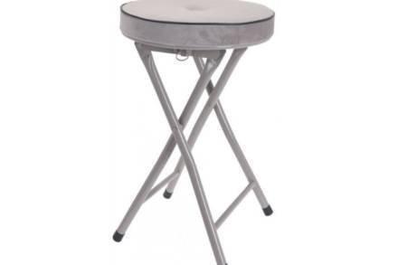 Πτυσσόμενο σκαμπό με βελούδινο κάθισμα σε Γκρι χρώμα για εσωτερική και εξωτερική χρήση
