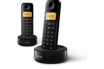 Philips Σετ Ασύρματο Επαναφορτιζόμενο Τηλέφωνο 2 τεμαχίων σε μαύρο χρώμα