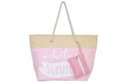 Τσάντα Παραλίας Θαλάσσης Ώμου με Πορτοφόλι και λουράκι από σχοινί σε ροζ χρώμα