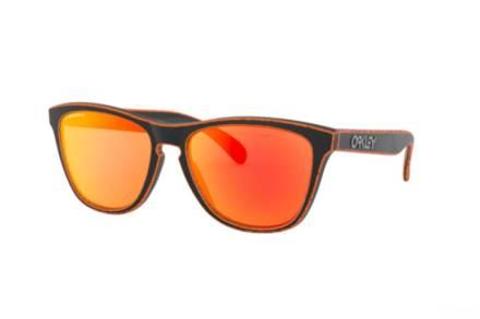 Oakley Ανδρικά Γυαλιά Ηλίου με κοκάλινο μαύρο σκελετό και πορτοκαλί φακούς