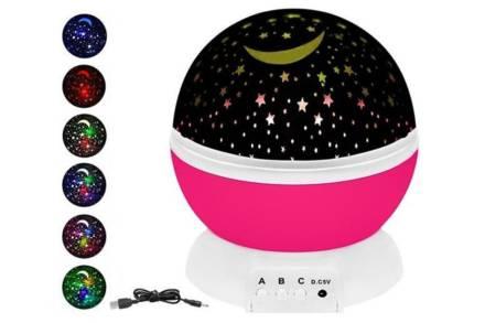 Περιστρεφόμενο Φωτάκι Δωματίου Νυκτός με Projector Έναστρο Ουρανό σε ροζ χρώμα