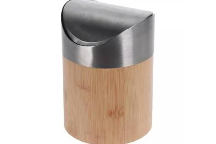 Mini Κάδος απορριμάτων από Ξύλο Bamboo και μεταλλικό καπάκι
