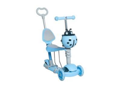 Παιδικό Πατίνι Scooter 3 σε 1 με βοηθητική λαβή ασφαλείας και Led φωτισμό σε πολυμορφικό σχήμα σε μπλε χρώμα