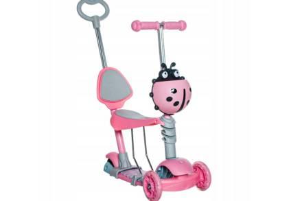 Παιδικό Πατίνι Scooter 3 σε 1 με βοηθητική λαβή ασφαλείας και Led φωτισμό σε πολυμορφικό σχήμα σε ροζ χρώμα