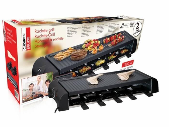 Cuisinier Deluxe Επιτραπέζια Ηλεκτρική Αντικολλητική Πλάκα Ψησίματος Μπάρμπεκιου BBQ Γκριλ table Grill Ρακλέτα Raclette 10x23.8x63.9cm 1500W 10 ατόμων με Ρυθμιζόμενο θερμοστάτη