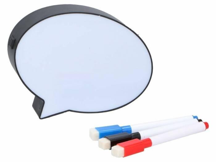 Πίνακας LED Lightbox σε σχήμα συννεφάκι σκέψης Speech Bubble Διακοσμητικός Φωτιζόμενος με 3 μαρκαδόρους 15x12x3.5cm