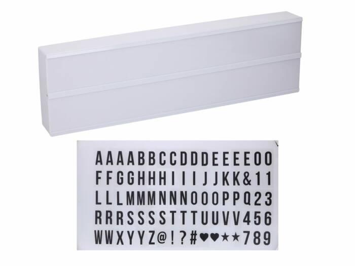 Πίνακας LED Φωτιζόμενος lightbox με 85 Γράμματα και Σύμβολα και 10 LED