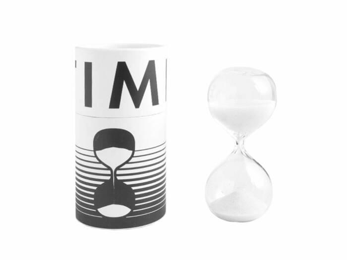 Γυάλινη Κλεψύδρα Χρονόμετρο για αντίστροφη μέτρηση 8 λεπτών με Άμμο σε Λευκό χρώμα