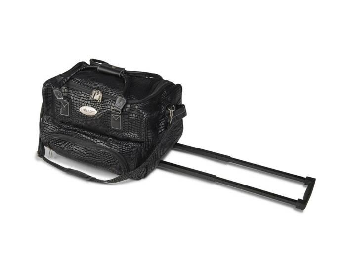 Τσάντα Ταξιδίου Τρόλεϊ Trolley με Τηλεσκοπικό Χερούλι σε μαύρο κροκό χρώμα