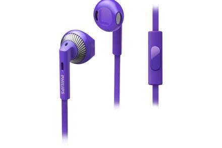Philips Ακουστικά Ψείρες In earphone Bass με ενσωματωμένο μικρόφωνο σε μωβ χρώμα