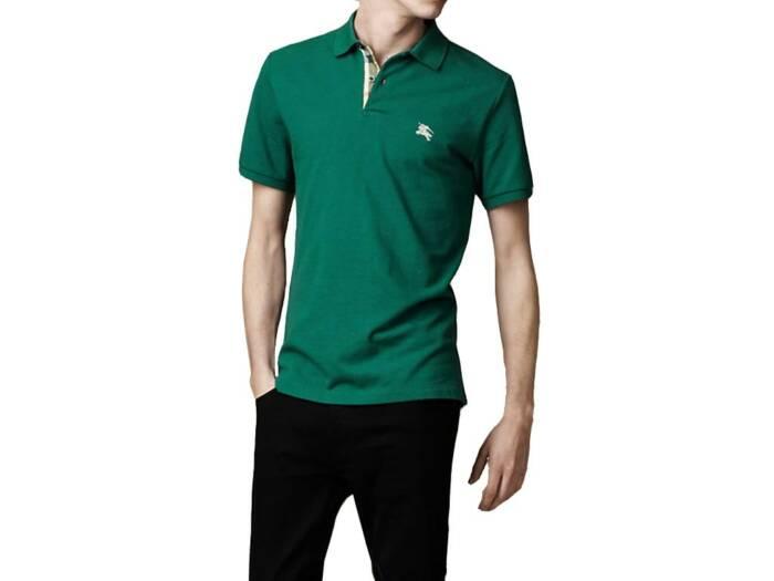 Burberry Ανδρική Πόλο Polo Μπλούζα Brit με κουμπιά σε Σκούρο Πράσινο χρώμα
