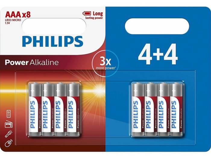 Philips Μπαταρίες Power Alkaline LR03/AAA 8 τεμαχίων