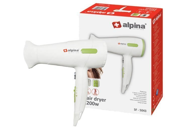 Alpina switzerland Πιστολάκι Μαλλιών 2000W με 3 Επίπεδα Θερμοκρασίας και 2 Ταχύτητες σε Λευκό χρώμα