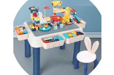 Παιδικό τραπεζάκι δραστηριοτήτων  με καρέκλακι και σετ τουβλάκια 184 τεμάχια