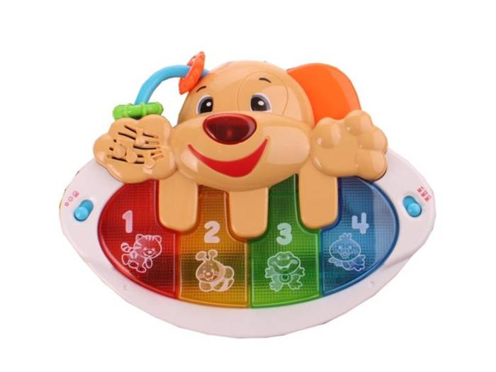 Let's Play Παιδικό πιάνο με ήχους ζώων σε σχήμα σκύλου